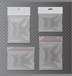 Transparent plastic pocket bags set vector