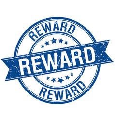 Reward grunge retro blue isolated ribbon stamp vector