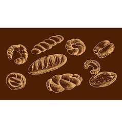 Bread products snack sweet vector