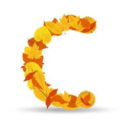 Autumn leaves font letter c vector