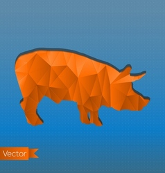 Abstract triangular stamp orange pig vector