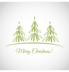 Greeting card with christmas trees vector