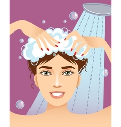 Cute young woman washing her hair eps10 vector
