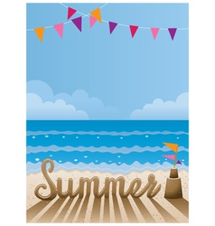 Summer text made from sand on the beach vector