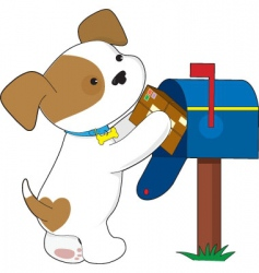 Cute puppy mail vector