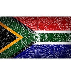 Flags South Africa with broken glass texture vector image