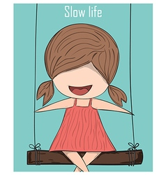 Cartoon girl smile on swinging slow life drawing vector