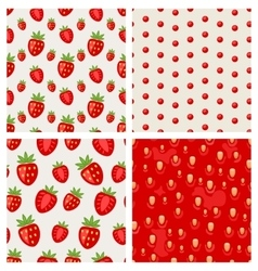Set seamless strawberry texture berry pattern vector
