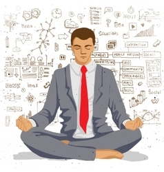 Businessman meditating with background of social vector