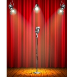 Vintage microphone on illuminated stage vector