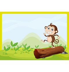 A monkey dancing on dry wood vector image vector image