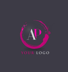 Ap letter logo circular purple splash brush vector