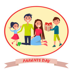 Banner dedicated to parents day depicting family vector
