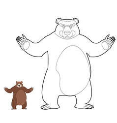 Bear coloring book Grizzlies in linear style Good vector image