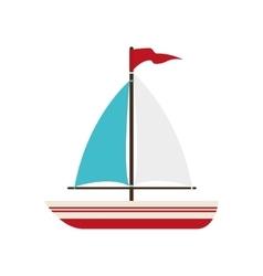 boat sea ship flag icon graphic vector image