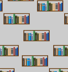 Book shelf seamless pattern vector image vector image