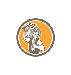Builder carpenter carrying house hammer retro vector