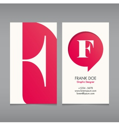 Business card template letter F vector image vector image
