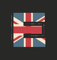 Capital 3d letter e with uk flag texture isolated vector