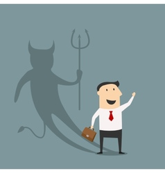Cartoon businessman with true devil personality vector image vector image