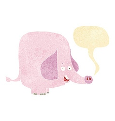 Cartoon pink elephant with speech bubble vector