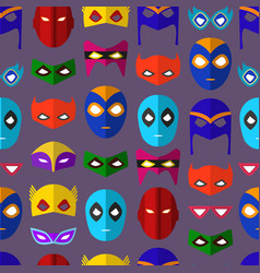 Cartoon superhero mask seamless pattern background vector