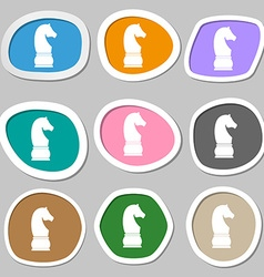 Chess knight icon symbols Multicolored paper vector image vector image