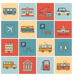 City Infrastructure Icons vector image vector image