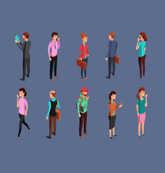different office people standing and using gadgets vector image vector image