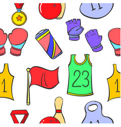 Doodle sport equipment object various vector