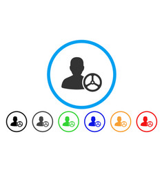 driver person rounded icon vector image vector image
