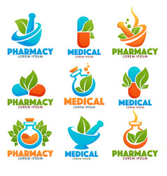 eco pharma glossy shine logo template with images vector image vector image