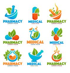Eco pharma glossy shine logo template with images vector