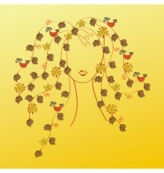 fall hair vector image vector image