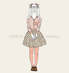 Fashion animal cute goat hipster girl character vector