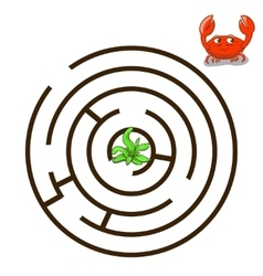 Game labyrinth find a way crab vector image vector image