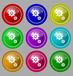 gears icon sign symbol on nine round colourful vector image