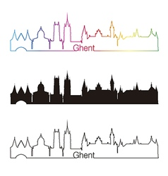 Ghent skyline linear style with rainbow vector