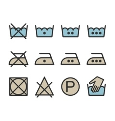 Instruction laundry dry cleaning care icons vector image