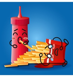 ketchup and crying cartoon on fried potatoes box vector image vector image
