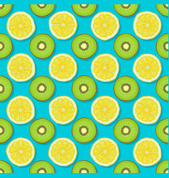 kiwi and lemon seamless pattern on blue background vector image vector image