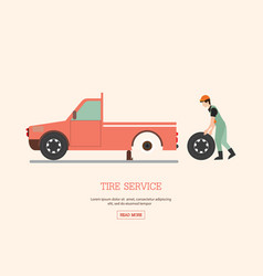 Man worker changing tire vector