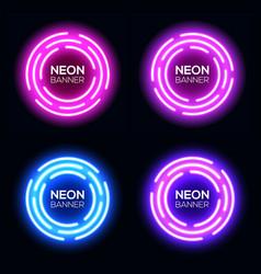 neon light circles set techno frames collection vector image