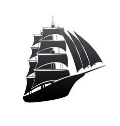 Old boat silhouette vector image vector image