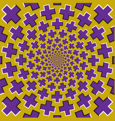Optical motion background purple crosses fly vector