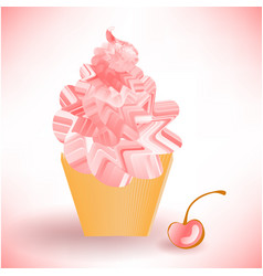 Pink cake or ice cream in a brown cup vector
