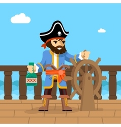 Pirate filibuster captain at helm of ship vector