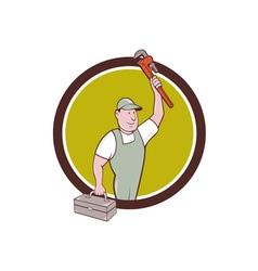 Plumber toolbox raising monkey wrench circle vector