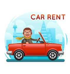rent car businessman male riding on car flat vector image