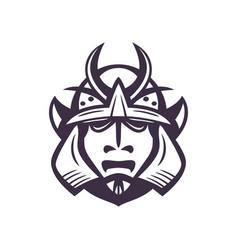samurai helmet japanese facial armour worn by the vector image
